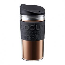 Mug isotherme double paroi plastique 35 cl - Couvercle Clapet - Bodum noir